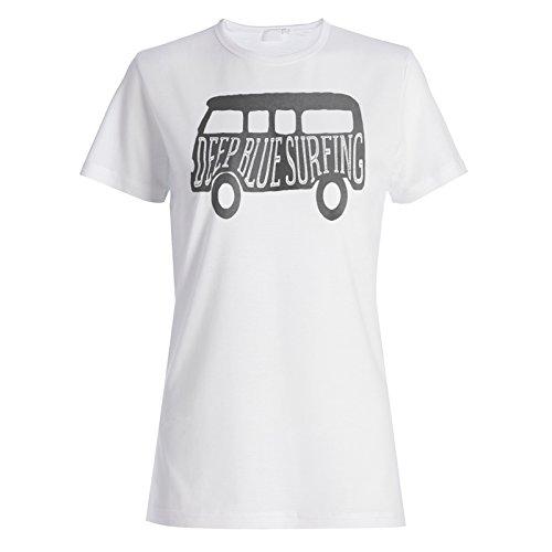 Surf-Surfing-California-Ocean-Vintage-VW-Campervan-Ladies-T-shirt-c993f