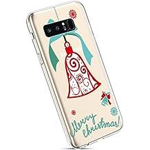 YSIMEE Fundas Samsung Galaxy Note 8 Carcasas,Xmas Decoración Fundas Transparente Silicona Suave Ultra Fina Delgado Gel Bumper TPU Goma Protectora Carcasas -Campana