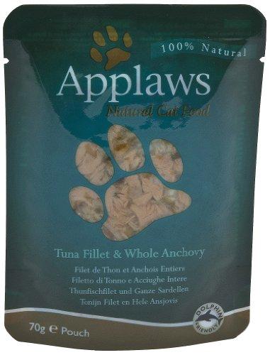 Applaws Katze Thunfischfilets und ganze Sardelle , 12er Pack (12 x 70 g)