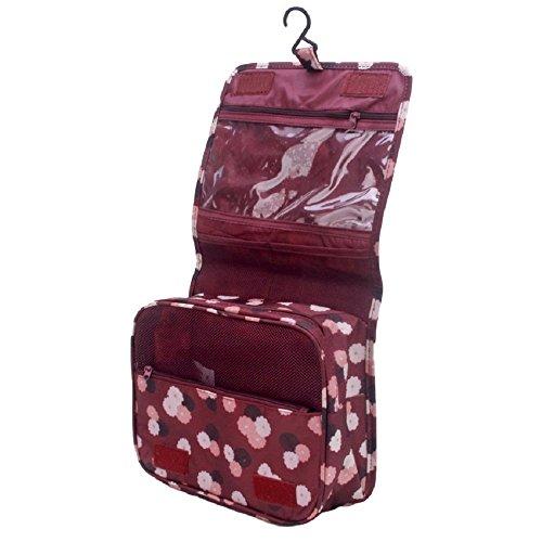 NOVAGO® Grande Trousse de toilette pliable , trousse maquillage, trousse de voyage (Bordeaux) qualité garantie