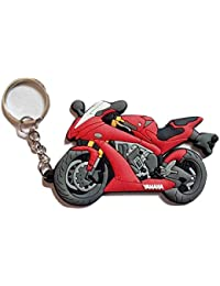 Sharddha Yamaha Bike Logo Synthetic / Rubber Bike Keychain / Keyring / Key Ring / Key Chain (Red/Black/Grey)