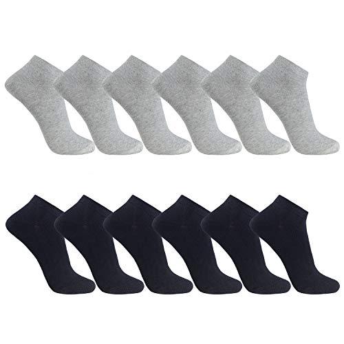 FALARY Sneaker Socken Herren Damen 12Paar Kurze Halbsocken Baumwolle-SchwarzGrau-47-50 -