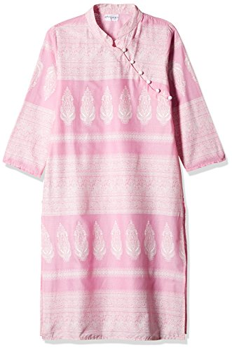 Atayant Women's Anarkali Kurta (ATAY01934_S_Pink and White)  available at amazon for Rs.269