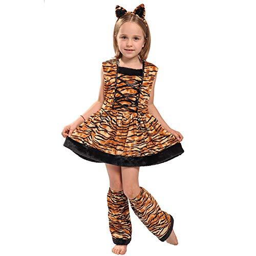 Shiningbaby Tiger Cosplay Kostüme Little Girl Party Leopard Kleid und Beinwärmer Stirnband 3PCS Outfit für Alter 3-12 Jahre - Niedliche Kostüm Für 11 Jahre Alt