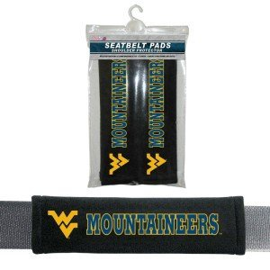 NCAA West Virginia Mountaineers Velour Seat Belt Pads, One Size, Multi by Fremont Die