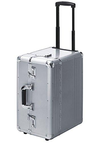 Valise mallette de pilote avec trolley roulettes Pilotetrolley aluminium Argent XXL très grande 49027