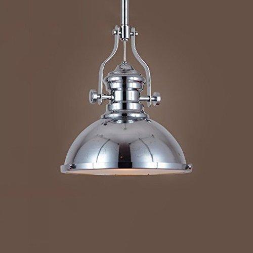 Pendelleuchte American Retro Industrie Runde Eisen-Leuchter Nordic Schlafzimmer Wohnzimmer Küche Esszimmer Elegante E27 Kronleuchter Durchmesser: 31CM (mit Brushed Nickel-Metall-Shade). -