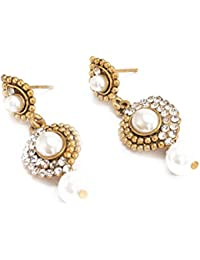 DREAM XPLORE Traditional Ethnic Jewellery with White Pearl and Diamond plated fancy Jhumki Earrings for Women and Girls