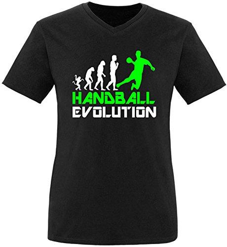 EZYshirt® Handball Evolution Herren V-Neck T-Shirt Schwarz/Weiss/Neongr