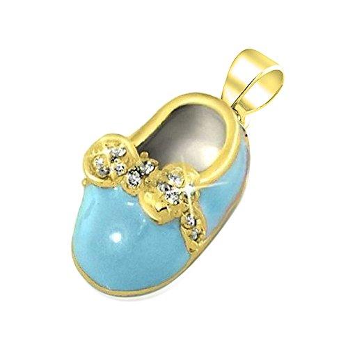 Bling Jewelry Placcato oro argento 925 Mini smalto blu CZ Bow Petite scarpe per bambini fascino incisione gratuita