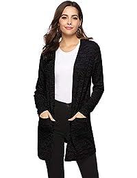 26bdb9c118ae Veste Femme Lin Gilet Cardigan Femme Tricot avec Poches Manches Longues  Outwear Élégante Ouvert Vintage