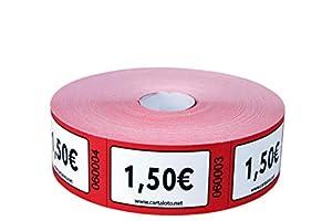 CARTALOTO - Rollo de 1000 Etiquetas de Valor 1,50 € - Rojo, BITR1506, Multicolor
