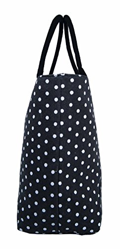 Da donna grande Borsa Shopper Borsa da spiaggia in tela a righe leggero Borsa a tracolla Holiday multicolore Wallflower Purple large Polka Dot Black