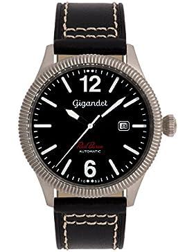 Gigandet Automatik Herren-Armbanduhr Red Baron I Fliegeruhr Uhr Datum Analog Lederarmband Schwarz G8-008