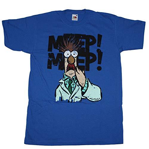 Gonzo Kostüm Muppet - Muppet T-Shirt Beaker blau royal Assistent Bunsenbrenner Puppe Show Kermit Miss Piggy Animal Gonzo Waldorf - S