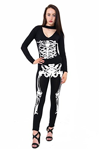 Damen Mädchen Halloween-Skelett , figurbetontes Kleid Leggings Bodysuit plus EUR Größe 36-54 New Leggings squelettiques