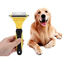 Unionup Dog Cat Comb Brush Stainless Double-sided Pets Professional Large Dogs Open Knot Rake Knife Pet Grooming Tools