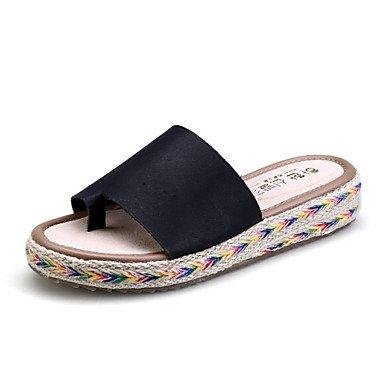 Donne'sscarpe piattaforma in microfibra pantofole / punta tonda / punta aperta sandali abito nero / marrone / verde / bianco US6 / EU36 / UK4 / CN36