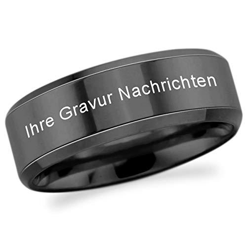 MeMeDIY Schwarz Edelstahl Ring Polished Größe 52 (16.6) Gravur