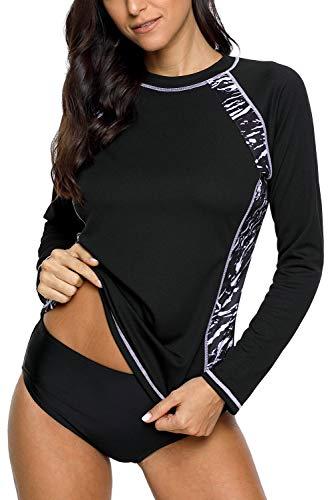 Vegatos Damen Schwimmshirt Lang Ärmel Rash Guard Badeanzug Sport Spitze UV-Schutz UV-Shirt Schwarz L -