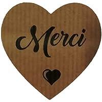 100 étiquettes adhésives Kraft Coeur Merci