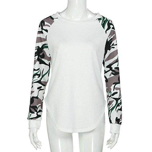 Bluestercool Femmes Camouflage Manche Longue Sweat-shirt Tops Blouse Grande Taille Blanc