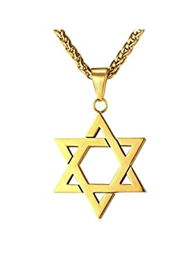 MESE London Magen David Stern Halskette 18K Gold Uberzog Israel Symbol-Anhänger - Elegante Geschenkbox