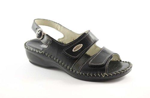 FLORANCE 22595 nero scarpe donna sandali pelle strappi comfort 37