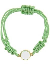 Córdoba Jewels | Pulsera en plata de Ley 925 bañada en oro. Diseño Circle Luxury Algodón Verde