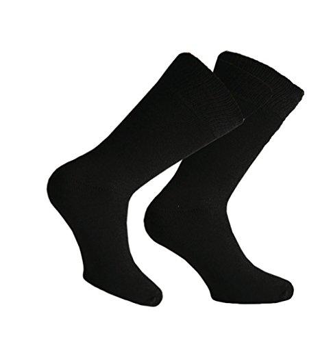 3er Pack schwarze, warme Herren Thermo-Socken, Frottee ohne Gummi, schwarz, Gr. 39/42