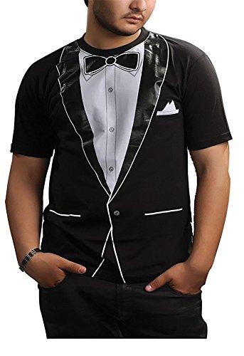 Islander Fashions Hommes Tuxedo Manches Courtes Imprim T Shirt Boys Crew Neck Fantaisie Tee Party Top S/XXL