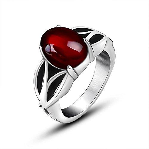 Beydodo Anello in Acciaio Inossidabile Anello con Pietra Ovale Rosso 10mm Anelli Rosso Misura 12