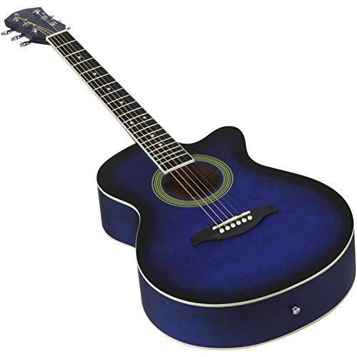 NUYI-4 40 Pulgadas Guitarra acústica Azul Estudiante enseñando 40 Pulgadas de Guitarra de Esquina para Enviar un Conjunto Completo de Accesorios