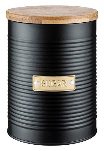 Typhoon Living Zucker Vorratsdose mit Deckel aus Bambus, Stahl, schwarz, 11x 11x 15,5cm