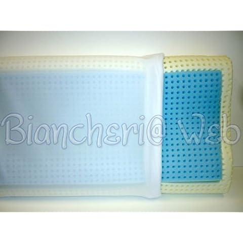Biancheriaweb - Cuscino guanciale lattice azzurro profumo fresco delicato relax made in italy; Ergonomico (cervicale)