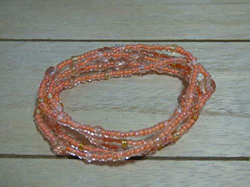 Schmuck Armband Böhmische Glasperlen Perlen zart filigran lang Handarbeit Wickelarmband pastell lachs Kette Halskette lässig Ibiza Style Boho Sommer (Perlen Lachs)