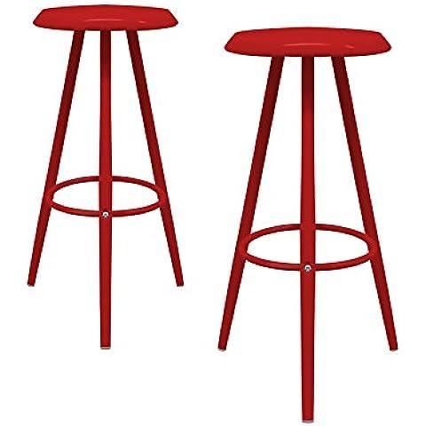 regalosMiguel - Set de 2 Taburetes Roy Rojos (Inspirado en la línea Kever)