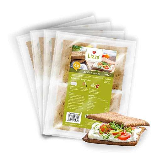 Lizza Low Carb Toasties   4 Stück à 50g   Low Carb und bis zu 94% weniger Kohlenhydrate   Ohne Gluten   für Keto, Low Carb Diät sowie Muskelaufbau   Bio. Glutenfrei. Vegan.   4x 200g