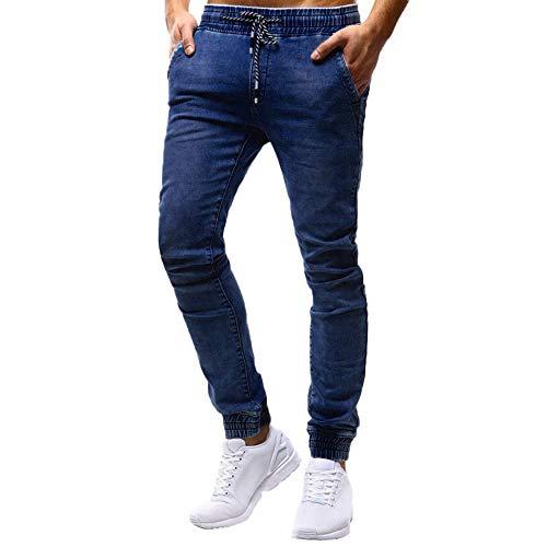 STRIR Pantalones de Hombre Casuales Chino Deporte Joggers Pants Algodón Slim Fit Jeans Cargo Trouser (L, Azul)