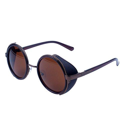 WooCo Reise Sonnenbrillen für Herren Damen, Runde Mode Vintage Retro Brille, Förderung Unisex Aviator Spiegel Objektiv Sonnenbrille(A,One size)