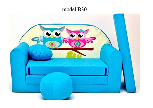 articolicasaonline Kindersofa, Kindermöbel, Kinderzimmer, Sitzsack, Mini Sitzsack,Konvertiert in Ein Mini-Sofa-Bett