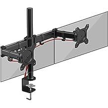 Duronic DM252 Soporte Brazo de Escritorio para 2 Monitores PC / TV / Soporte para Dos Pantallas LED / LCD de 8 Kg Máx. / Acero / Soportes y Brazos