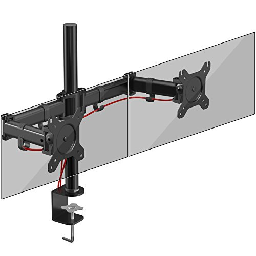 Duronic DM252 twin PC Monitor adjustable rate mortgage stand up Desk Mount Bracket Clamp Double/Twin |LCD |LED | Tilt and Swivel (Tilt ±45°|Swivel 180°|Rotate 360°) UK