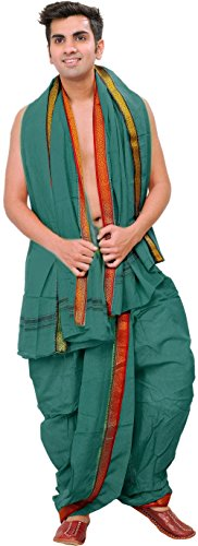 Exotic India Ready to Wear Dhoti and Angavastram Set with Woven Temple...