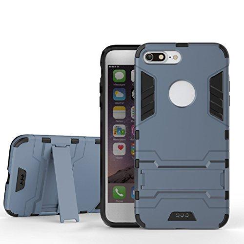 Coque iPhone 7 Plus, Pasonomi [Slim Hybrid] Double Couche Étui Rigide avec Fonction Stand pour iPhone 7 Plus, Noir Noir