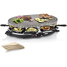 Princess 8 Oval Stone Grill Party - Raclette, 1200 W, color negro