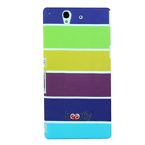 Heartly Strip Style Retro Color Armor Hybrid Hard Bumper Back Case Cover For Sony Xperia Z L36H L36I - Yellow Field  available at amazon for Rs.249