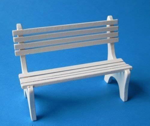 Puppenhaus Gartenbank weiß oder Naturfarben Miniaturen 1:12 (weiß)