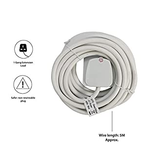 Pifco 1 Way UK 3Pin Plug Extension Lead with 5 Metre High-Quality Cable - Neon Power On Indicator -  White