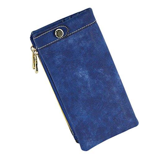 La Signora Portafoglio Delle Donne Lungo Tratto Opaca Retrò Cerniera Pacchetto Frizione Borsa Telefono Blue